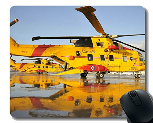(Mouse Pad with Stitched Edge,Shadow Canada Helicopter Aircraft Yellow Mouse Pad for Office Desktop or Gaming Mouse Mat )