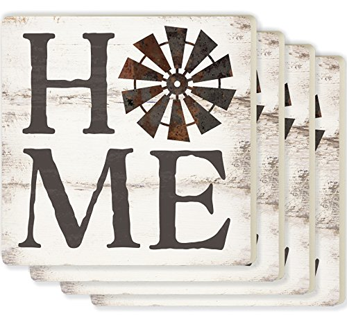 Home Windmill Whitewash Look 4 x 4 Ceramic Coaster 4 Pack (Coasters 4 Ceramic Pack)