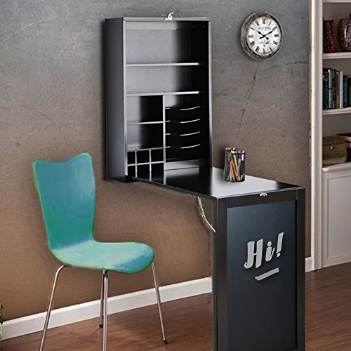 Utopia Alley Collapsible Fold Down Desk Table/Wall Cabinet with Chalkboard, Espresso/Chocolate by Utopia Alley (Image #4)