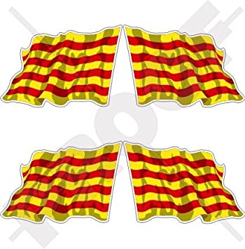 """Cataluña catalán saludando bandera España catalunya 2 """"(50 mm) bumper-helmet"""
