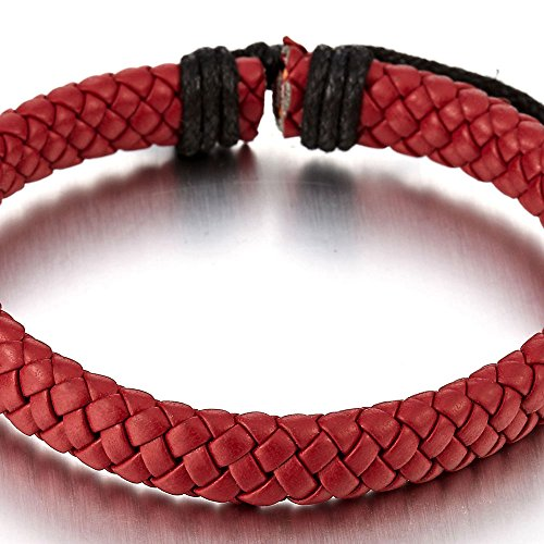 Classique Rouge Homme Femme Bracelet En Cuir Tress - Entrelac - Envelopper Bracelet