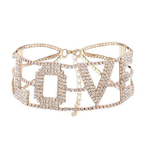 MengPa Rhinestone Choker Necklace for Women Fashion Letter Love Collar Wedding Jewelry Gold