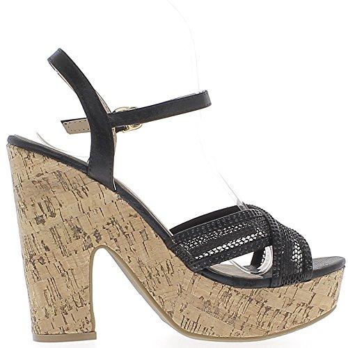 Sandales noires dentelle et strass à talon carré de 13 cm et plateforme épaisse