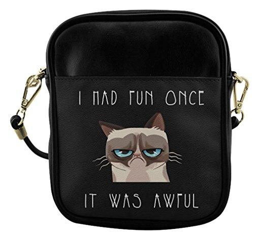 Sling Female Cat Bag Bag with Print Bag Fashion Grumpy Crossbody Sb004pgc01 Shoulder Leather f5qxnnE