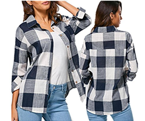 Hundreds Plaid Button - Clearance! Taore Women's Check Plaid Casual Loose Shirts Long Sleeve T Shirt Tops Blouse (US14=TagXXL, S-Navy)