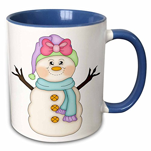 3dRose Anne Marie Baugh - Christmas - Cute Happy Snowman Girl With Pink Bow Illustration - 15oz Two-Tone Blue Mug (mug_217111_11)