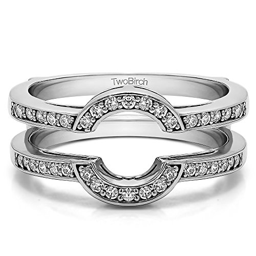 0.3 ct. Moissanite by C&C Round Shaped Classic Halo Wedding Ring Guard in Silver (1/3 ct) by TwoBirch