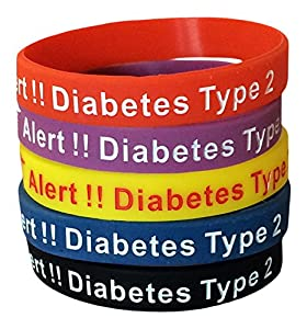 Type 2 Diabetes Bracelets Silicone Medical Alert Wristbands(Pack of 5) Blue, Yellow, Red, Black, Purple Plus Bonus Wellness Article Included