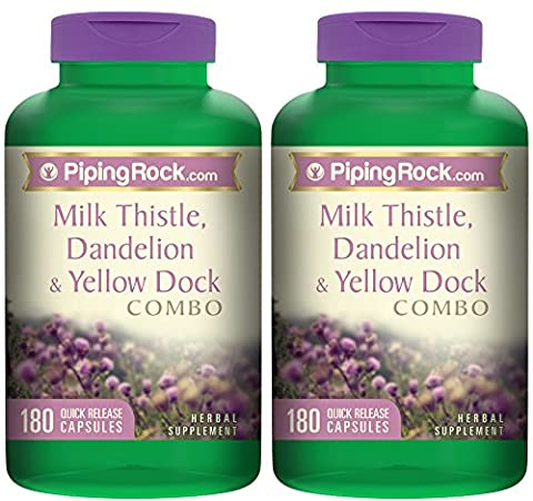 Piping Rock Milk Thistle, Dandelion & Yellow Dock Combo 2 Bottles x 180 Quick Release Capsules Herbal (Two Rock Combo)