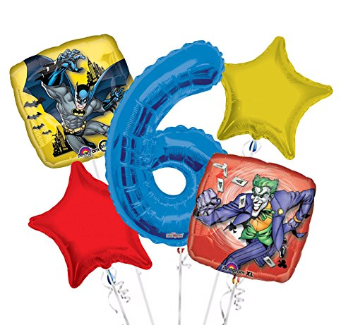 Batman and Joker Balloon Bouquet 6th Birthday 5 pcs - Party -