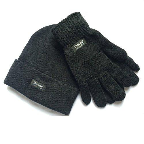 guantes grueso regalo con Mens Set forro gris gorro Idea y cálido de térmico térmicos invierno qaAEZX