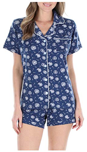 Sleepyheads Women's Sleepwear Jersey Short Sleeve Button-Up Top and Shorts Pajama Set (SH1927-5035-MED)