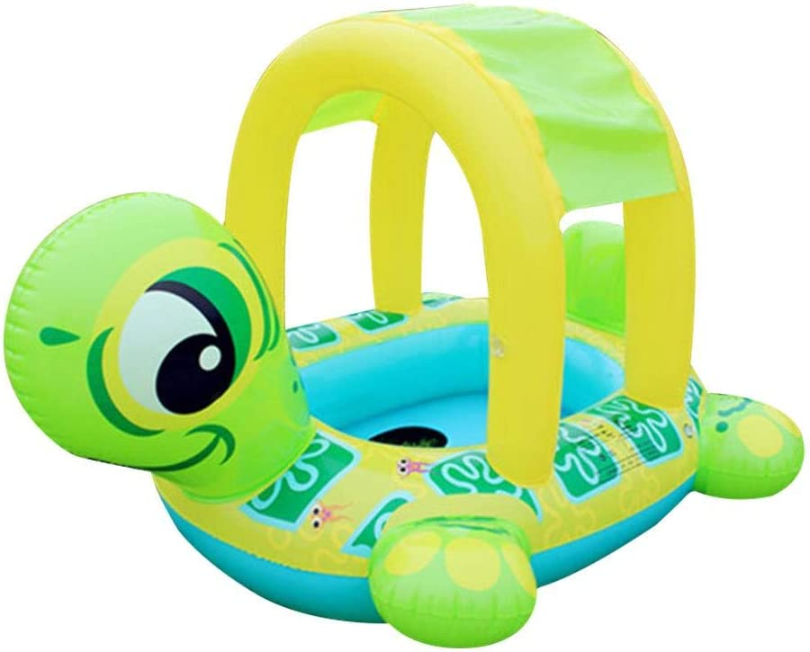 Wood.L Flotador Bebés con Asiento, Flotador para Bebes Piscina Respaldo con Sombrilla, Barca Bebés De Piscina para 6-36 Meses Bebés Y Niños