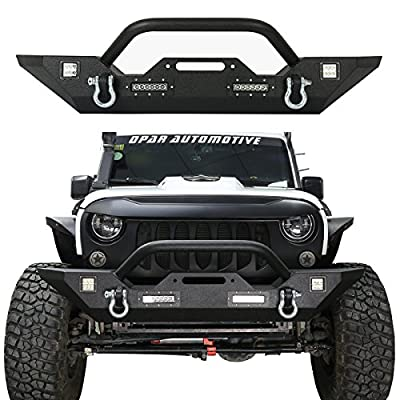 Hooke Road Jeep Wrangler Front Bumper, Rock Crawler Bumper w/Winch Plate & 4X LED Accent Lights for 2007-2018 Wrangler JK & Unlimited