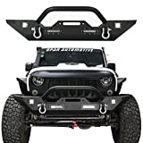 Hooke Road Different Trail Front Bumper w/Winch Plate & 4X LED Accent Lights for 07-18 Jeep Wrangler JK