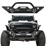 Hooke Road Jeep Wrangler Front Bumper - Rock Crawler Bumper w Winch Plate & 4X LED Accent Lights for 2007-2018 Wrangler JK & Unlimited