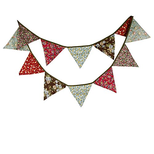 Red & Brown Vintage Ethnic Flower Fabric Flag Buntings Garlands Wedding Birthday Party Decoration (Brown Streamer)