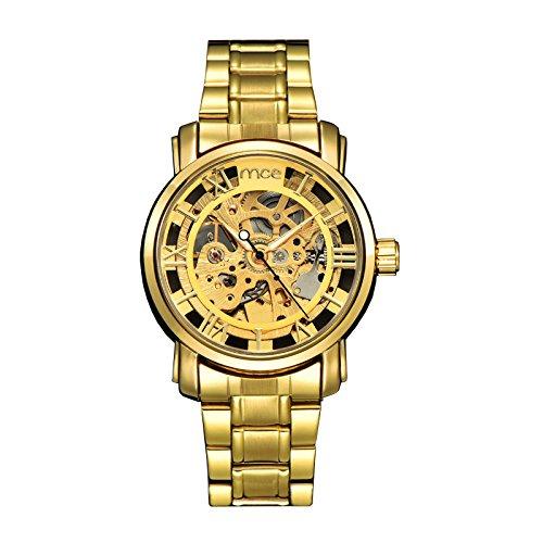 ufengke® bling del antiguo números romanos reloj de pulsera muñeca de oro para los hombres,reloj movimiento mecánico automático hueco de la manera: ...