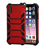 Protective Case, MXditect iPhone X Shatter-resistant Protecting Rubber Shockproof Phone Case With Lanyard (Red)