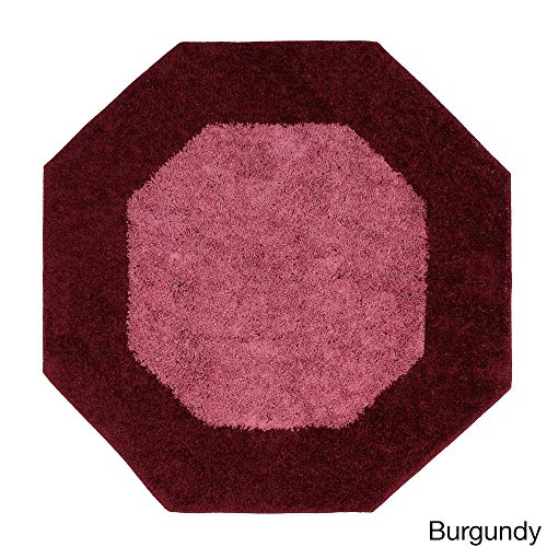 Shag Octagon Mat 6' x 6', Pink Red Octagon Rug Accent Border Two Tone Pattern Geometric Shape, Casual Indoor Carpet Soft Thick Shaggy Durable Non Skid Backing Burgundy, ()