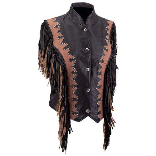 Diamond Plate™ Brn/Blk Leather Fringe (Solid Genuine Leather Ladies Vest)