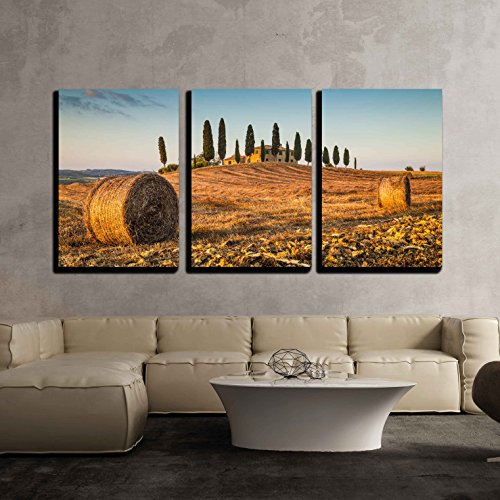 Beautiful Tuscany Landscape with Traditional Farm House x3 Panels