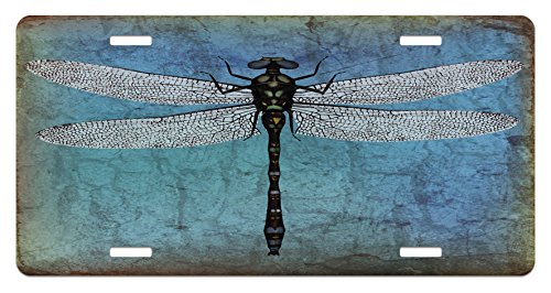 Ambesonne Dragonfly License Plate, Grunge Vintage Old Backdrop and Dragonfly Bug Ombre Image, High Gloss Aluminum Novelty Plate, 5.88 L X 11.88 W Inches, Dark Blue Turquoise and Black