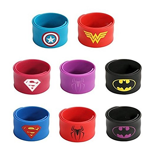 Shoes Superwoman Costume (Superhero Slap Bracelets Kid's Birthday Party Supplies Favors Boy's & Girl's Wristband Accessories Wrist)