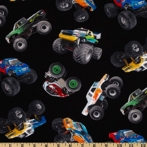 Monsters Fabric - Elizabeth's Studio in Motion Monster Trucks Black Fabric by The Yard