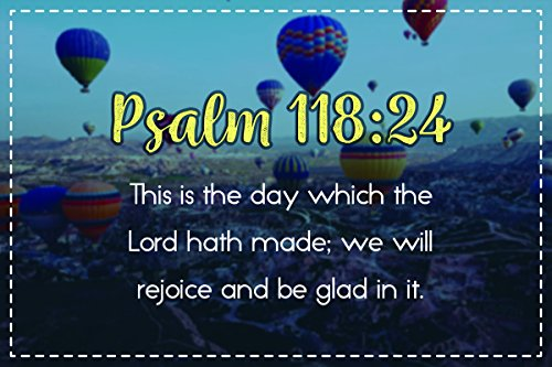 Religious Poster (Christian Poster Bible Verse Psalm 118:24 Hot Air Balloons | 18-Inches By 12-Inches | Motivational Inspirational Educational Religious | Premium 100lb Gloss Poster Paper | JSC640)