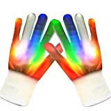 LED Gloves, LEMEGO Lighted Gloves 5 Colors 7 Modes Finger Rave Gloves Flashing Light for Party Show with Small Size (White)