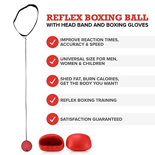 Boxing Reflex Ball - Boxing Equipment, Adjustable Head Band, Gloves, Extra String, Instruction and Repair Guide Included - Perfect For Reflex/Speed Training Improve Reactions for Kids Aswell by Punch King (Image #3)