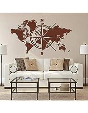 Grote Wereldkaart Atlas Van De Wereld Kompas Muursticker Kantoor Klaslokaal Global Earth Wereldkaart Decal Slaapkamer Vinyl Decor
