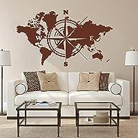 Grote Wereldkaart Atlas Van De Wereld Kompas Muursticker Kantoor Klaslokaal Global Earth Wereldkaart Decal Slaapkamer…