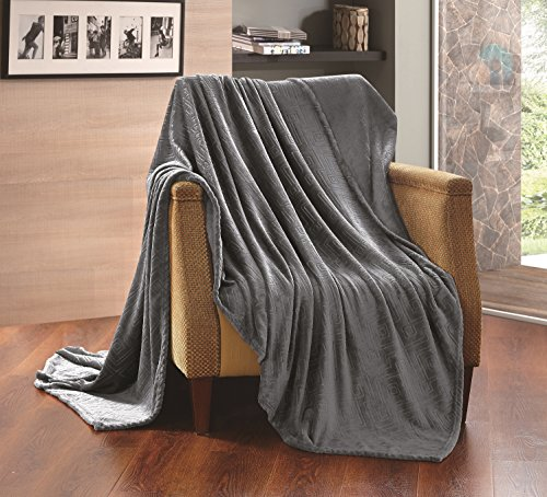 All American Collection New Super Soft Solid Embossed Sally Throw Blanket (Queen Size, Charcoal Grey)