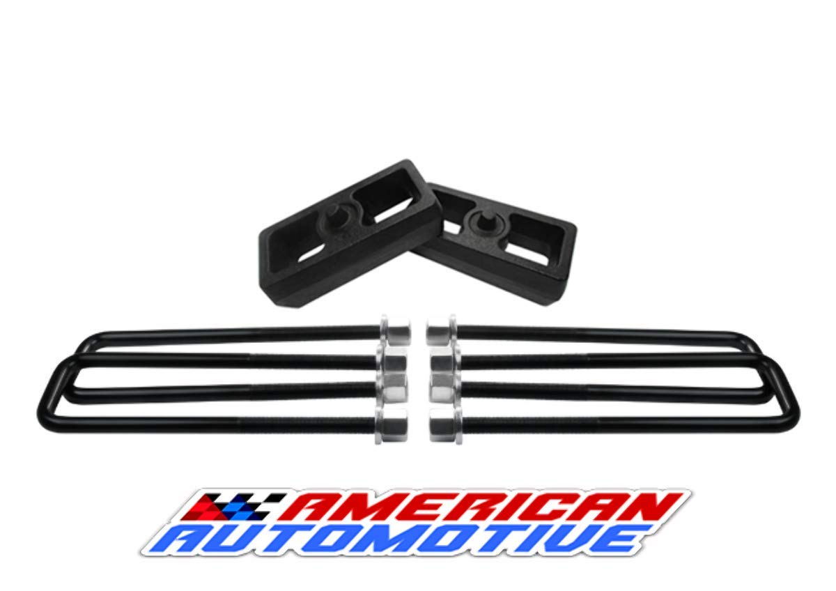 1.5' Rear Suspension Lift Solid Cast Iron Blocks + Extra Long 12.5' Square Leaf Spring Axle U Bolts American Automotive