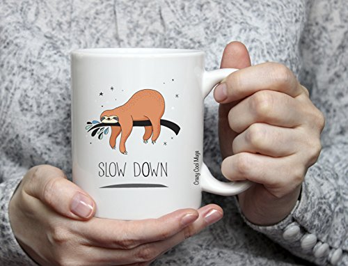 Slow Down 11 Oz Sloth Coffee Mugs -