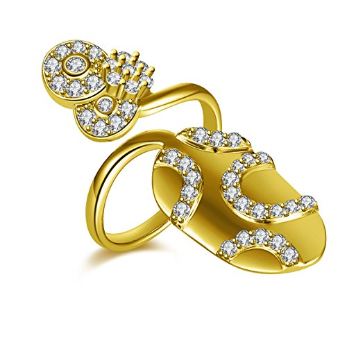 IcedJewels 0.85 cttw Round CZ 14K Yellow Gold Nail Finger Tips Ring, 7 (Gold Nail 14k Yellow)
