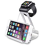 SPARIN Apple Watch Series 2 Stand, Aluminum Stand Charge Station for Apple Watch and iPhone, Fit all Apple Watch Models, [Premium Stylus Pen] Silver