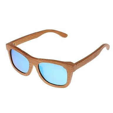 Baoblaze Unisex Polarisierte Sonnenbrille - Damen Herren - Holzrahmen Sportbrille - Rot tTlge