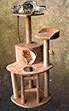 Cat Tree House Condo With Cradle Perches Scratch Post and Bed (CT009-BE_CT - Beige)