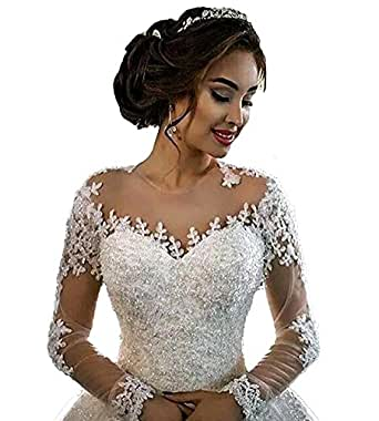 Sogala Long Sleeves Wedding Dresses for Bride Lace Appliques Ball Gown Court Train Royal Style