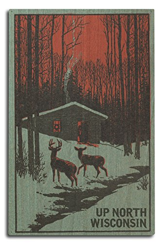 Lantern Press Up North, Wisconsin - Deer and Cabin in Winter - Woodblock (10x15 Wood Wall Sign, Wall Decor Ready to Hang) -