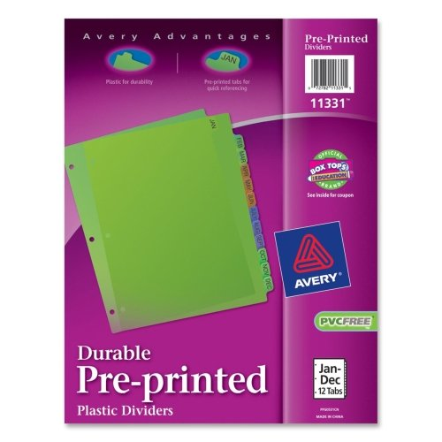 Wholesale CASE of 25 - Avery Preprinted Monthly Plastic Dividers-Plastic Dividers, Pre-Printed,12 (Dec Preprinted Box)