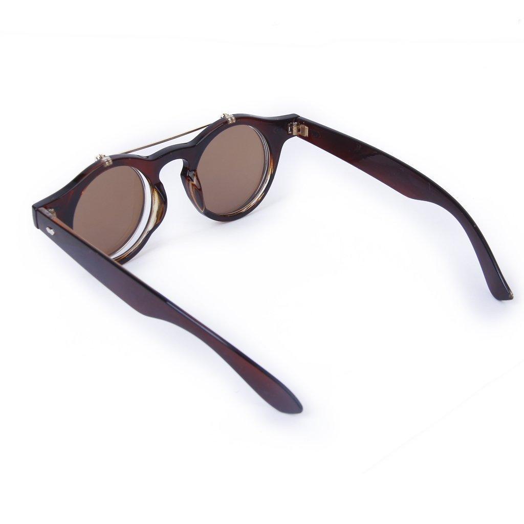 SODIAL(R) Lunettes Gothique Style de Steampunk Lunettes de Soleil Vintage  pour Cosplay (brun fonce) 41d9c00480fb