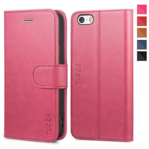 TUCCH iPhone SE Case, iPhone 5s Wallet Case, Premium PU Leather Case Slim Flip Folio Book Cover Card Slots, Magnetic Closure Compatible iPhone 5s/SE/5, Hot Pink