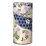 Ryu Mei Marikomon Japanese Tea Canister | Pink Lavender Flower Blue River Yellow Washi Paper | Imported Japanese Tea Storage Tin