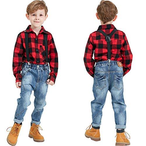 Grandwish Kids Long Sleeve Boy's Girl's Plaid Flannel Shirt Red Black 6 by Grandwish (Image #2)