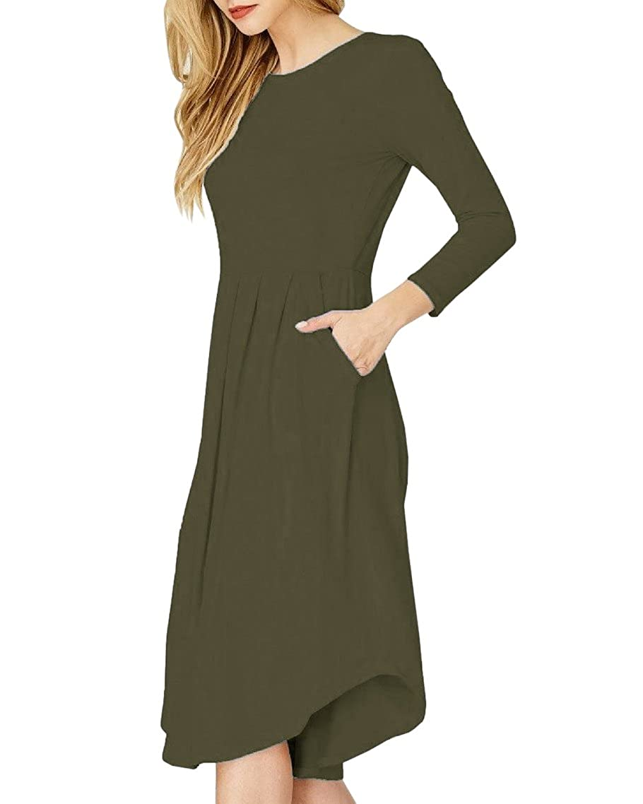 b6f6813ba90 Style  Loose Fit Casual Summer Fall Solid Midi Dresses  3 4 Sleeve