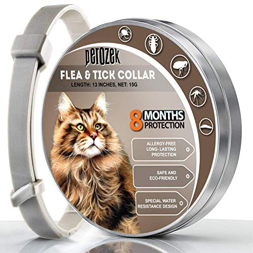 PEROZEK Cats Flea and Tick Collar - 8-Month Flea Treatment Cat Collar - Hypoallergenic, Adjustable & Waterproof Tick Prevention - Natural Essential Oil Extracts